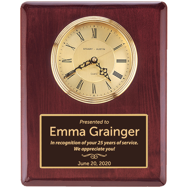 Career Years Rosewood Stained Piano Finish Wall Clock with Engraved Plate