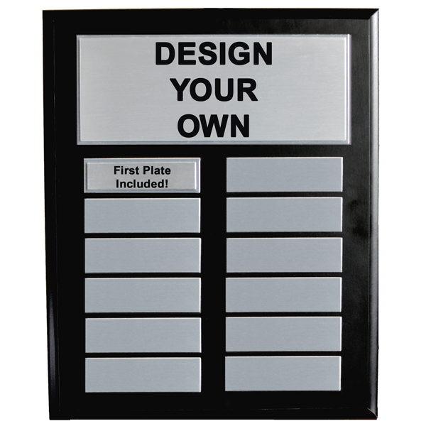 10x13 Perpetual Plaque with Black Board and 12 Silver plates.