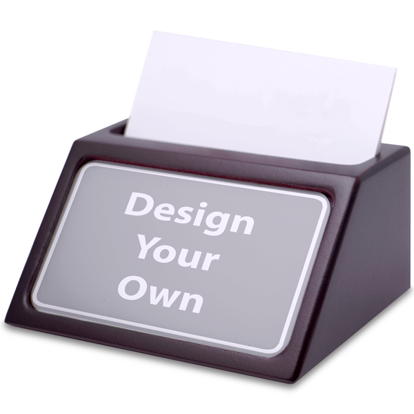 Custom Mahogany Business Card Holder with Full Color Insert