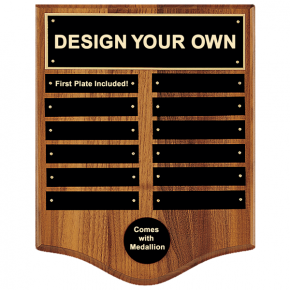 12 Month Perpetual Plaque in Walnut Finish and Black Plate 12 x 15