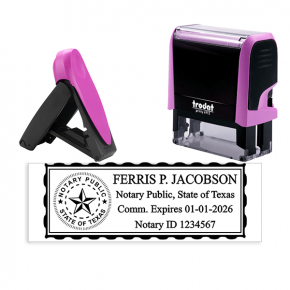 Texas Notary Pink Stamp - Rectangle