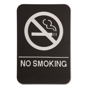 Black No Smoking Sign ADA Braille Sign