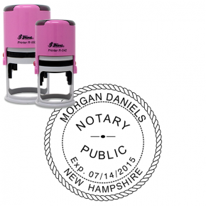 New Hampshire Notary Pink Stamp - Round Design