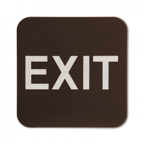 "Brown Exit ADA Braille Sign | 6"" x 6"""