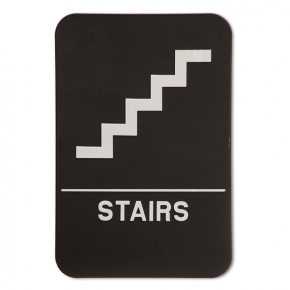 "Black Stairs ADA Braille Sign | 9"" x 6"""