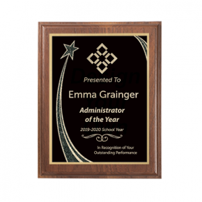 8 x 10 Administrator of the Year Rising Star Walnut Plaque