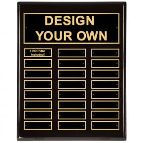 "Black Piano Finish 11"" x 14"" Perpetual Plaque with 24 plates"