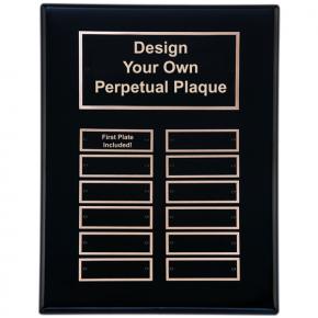 "Black Piano Finish 9"" x 12""  Perpetual Plaque with 12 plates"