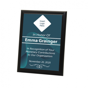 """Donor Recognition Full Color 5"""" X 7"""" Photo Plaque with Black Edge"""