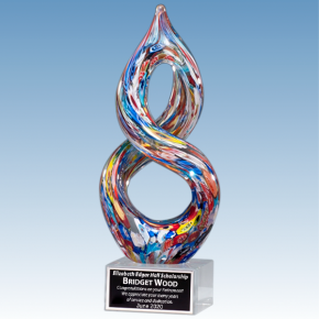 Donor Recognition Gift Multi-Color Helix Art Glass Award