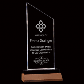 Donor Recognition Zenith Series Clear Acrylic Award w/Walnut Base