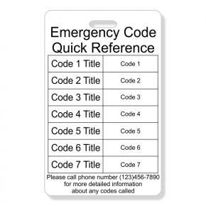 Emergency Code Vertical Wallet Reference Card