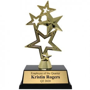 Employee of the Quarter 5-Star Gold Award Trophy