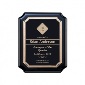 Gloss Black and Gold Employee of the Quarter Wall Plaque with Scalloped Corners