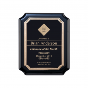 Gloss Black and Gold Employee of the Month Wall Plaque with Scalloped Corners