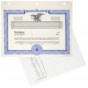 GOES KG3 Blank Corporate Stock Certificates | Quantity of 20 or more