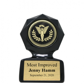 Most Improved Small Black Star Sculpted Victory Trophy Award