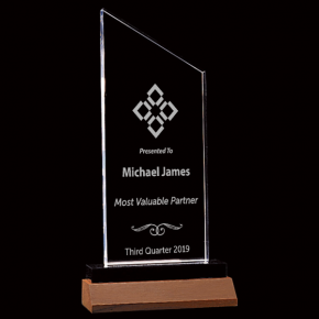 Most Valuable Person Zenith Series Clear Acrylic Award w/ Walnut Base