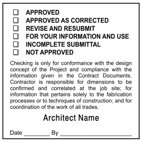 Plan & Blueprint Stamp - Approval or Correct and Submit Form Stamp