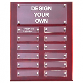 "Rosewood High Gloss Perpetual Plaque 9""x12"" with 12 Acrylic Engraving Plates"