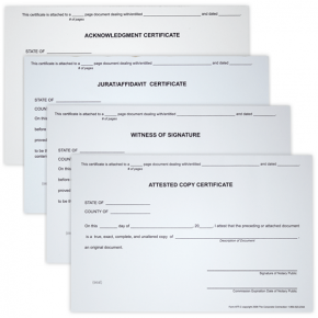 Set of 4 Notary Certificates - Witness, Acknowledgement, Attest, and Jurat