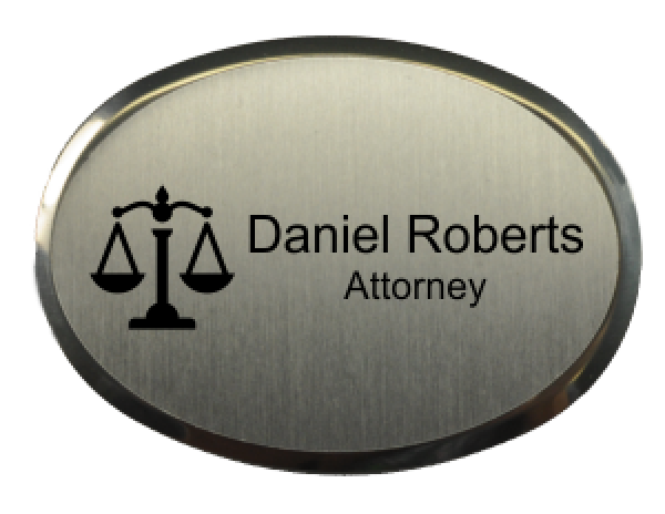 "Law Office Oval Name Tag with Premier Holder (2.5"" x 1.75"")"