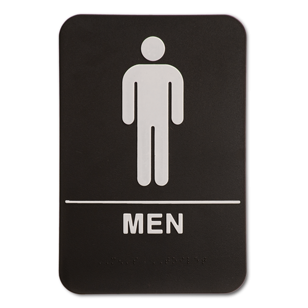 "Black Men's ADA Braille Restroom Sign | 9"" x 6"""