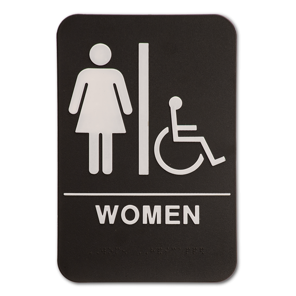 "Black Women's Handicap ADA Braille Restroom Sign | 9"" x 6"""