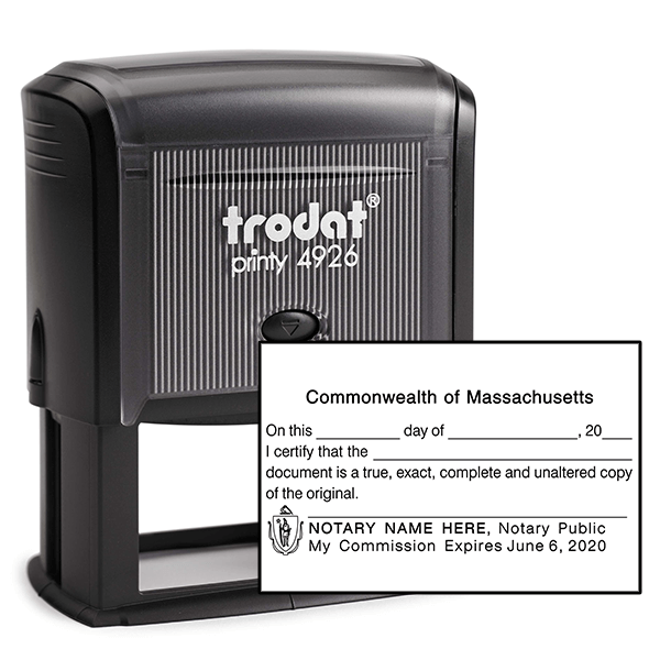 Massachusetts CERTIFIED TRUE COPY Notary Stamp