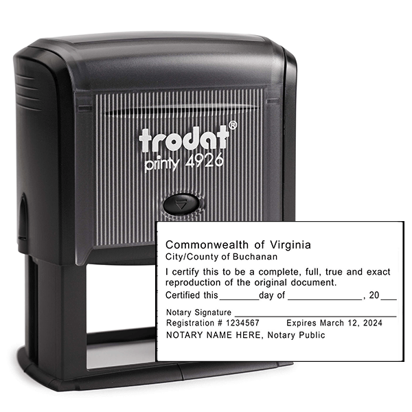 Virginia Certified True Copy Notary Stamp