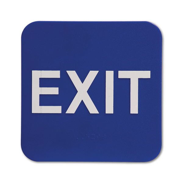"""Blue Exit ADA Braille Sign   6"""" x 6"""""""