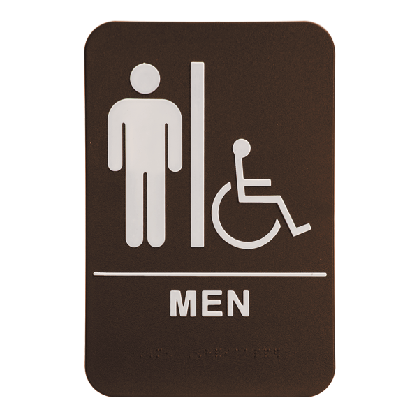 "Brown Men's Handicap ADA Braille Restroom Sign | 9"" x 6"""