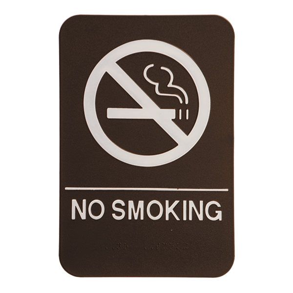 Brown No Smoking ADA Braille Sign