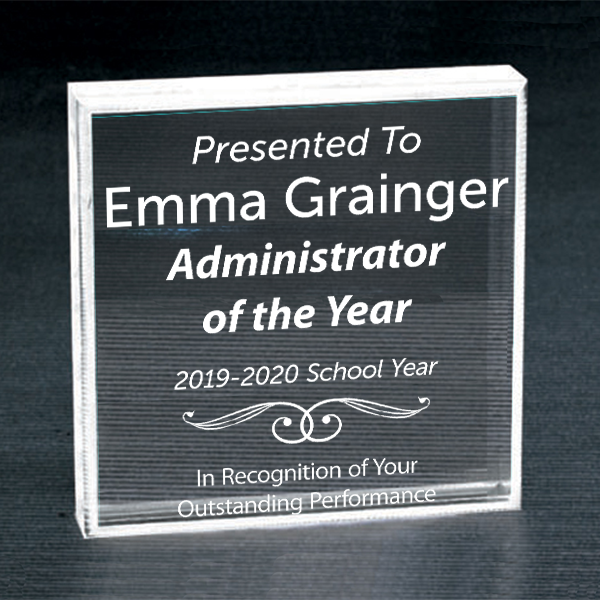 Admin of the Year Clear Paperweight