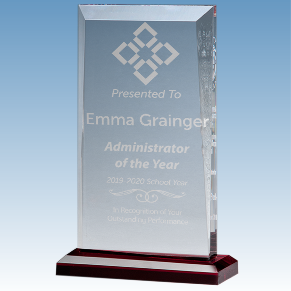 Administrator of the Year Apex Style Acrylic Award w/ Red Base