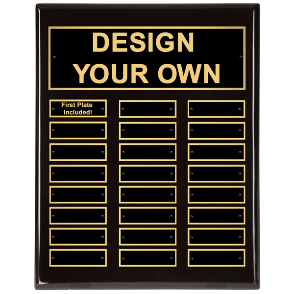 """Black Piano Finish 11"""" x 14"""" Perpetual Plaque with 24 plates"""
