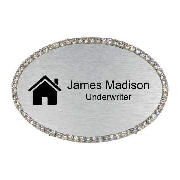 Bling Realtor Engraved Oval Name Tag