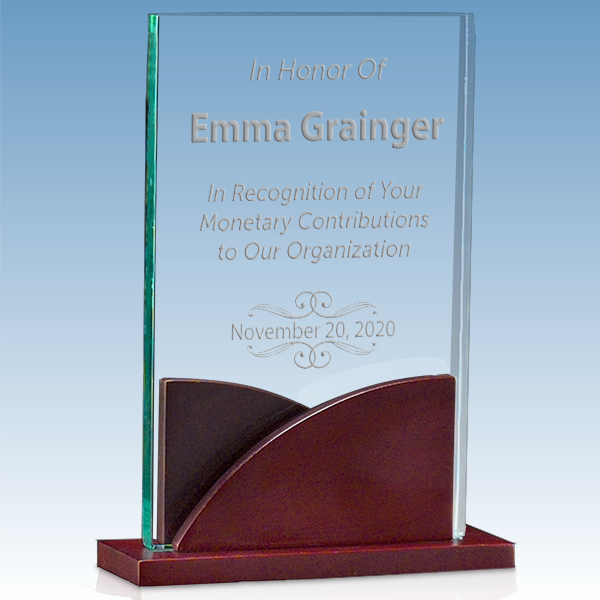 Donor Recognition Premium Acrylic Award with Mahogany Base