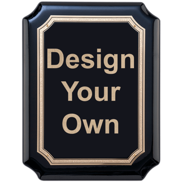 """Gloss Black and Gold 9"""" x 12"""" Wall Plaque with Scalloped Corners"""