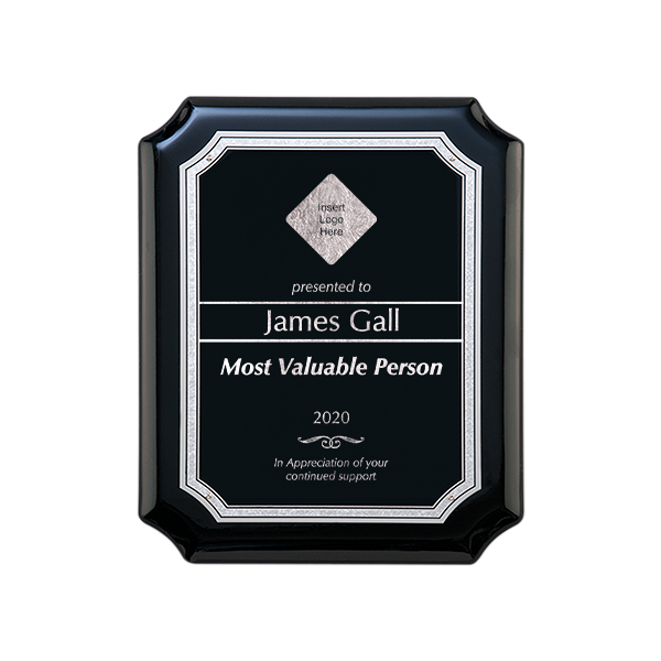 Gloss Black and Silver Employee MVP Wall Plaque with Scalloped Corners