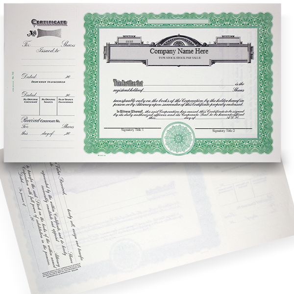GOES 722 Standard Stock Certificates | Quantity of 20 or More