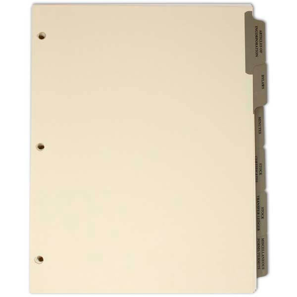 Index Tab Divider set for S & C Corp Corporate Kits