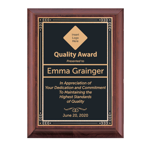 Quality Control Goal Cherry Award Plaque w/ Black Brass Plate