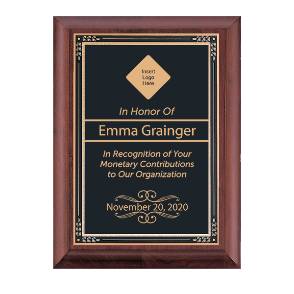 Recognition Cherry Award Plaque w/ Black Brass Plate