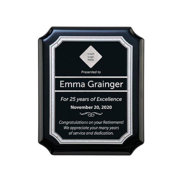 Retirement Gloss Black and Silver Wall Plaque with Scalloped Corners