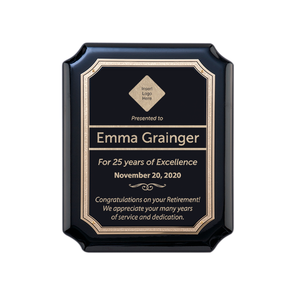Retirement Gloss Black and Gold Wall Plaque with Scalloped Corners