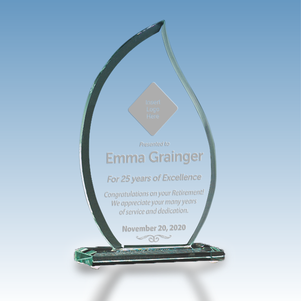 Retirement Recognition Flame Glass Award