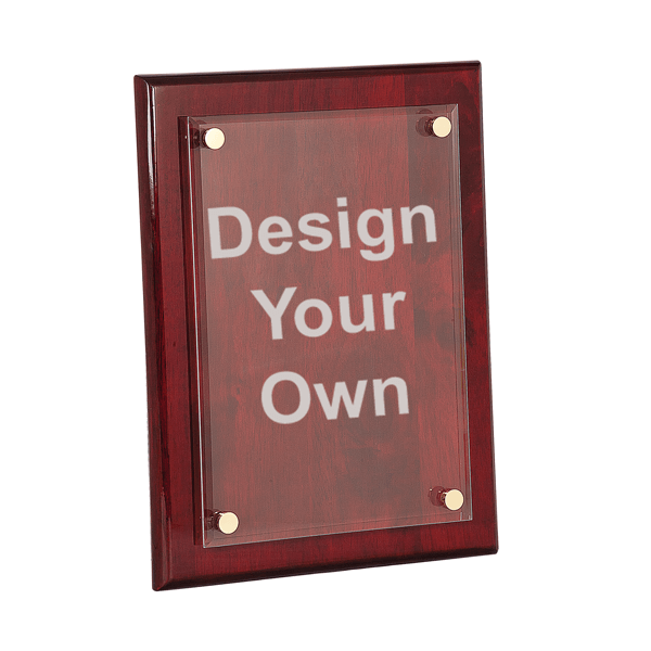 """Rosewood 8"""" x 10"""" Plaque with Floating Acrylic Engraved Plate"""