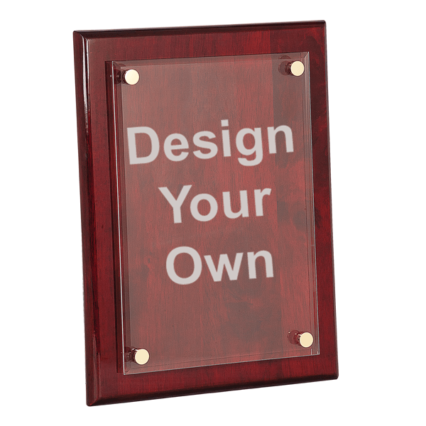 9x12 Rosewood Plaque with Floating Acrylic Engraved Plate
