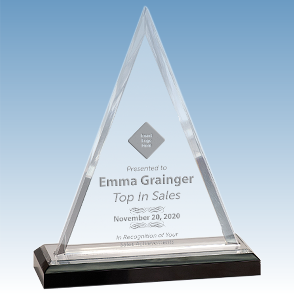Sales Goal Beveled Triangle Acrylic Award